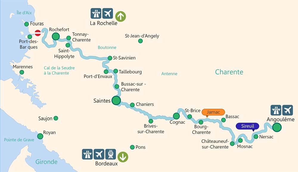 Charente Boat Hire Map