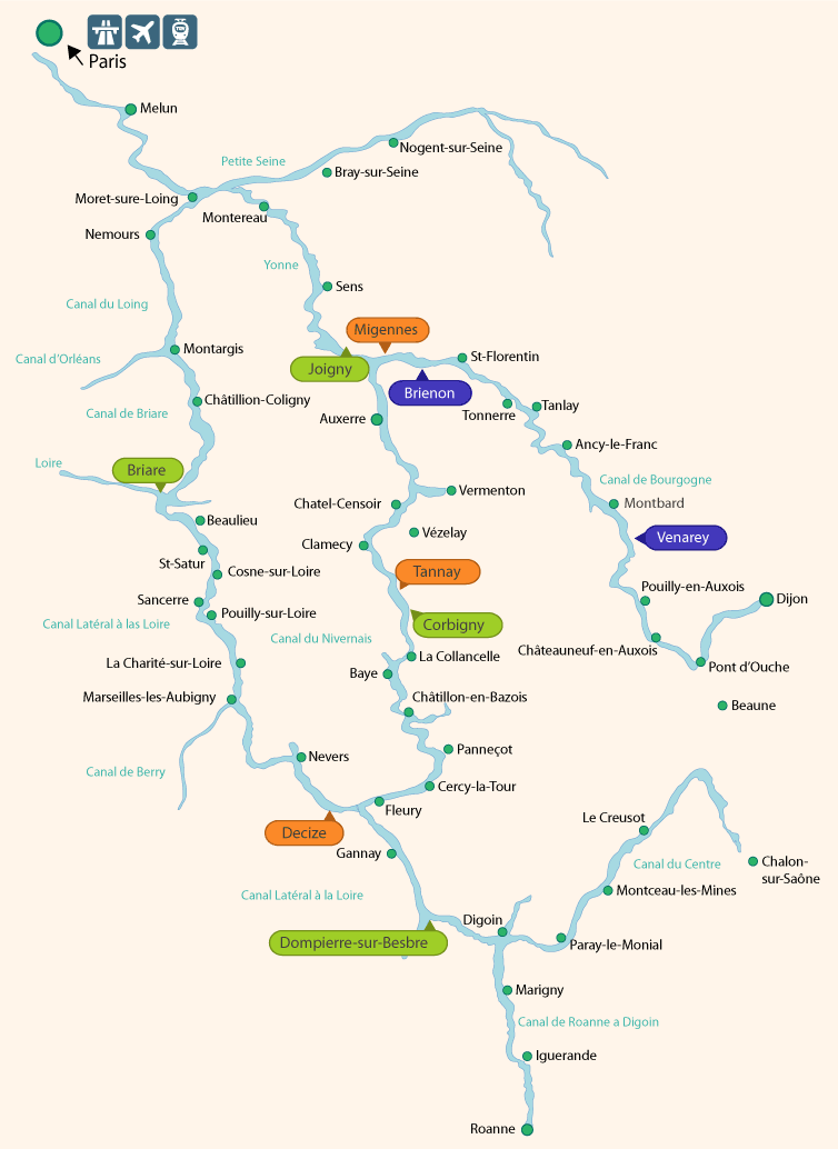 West Burgundy Boat Hire Map